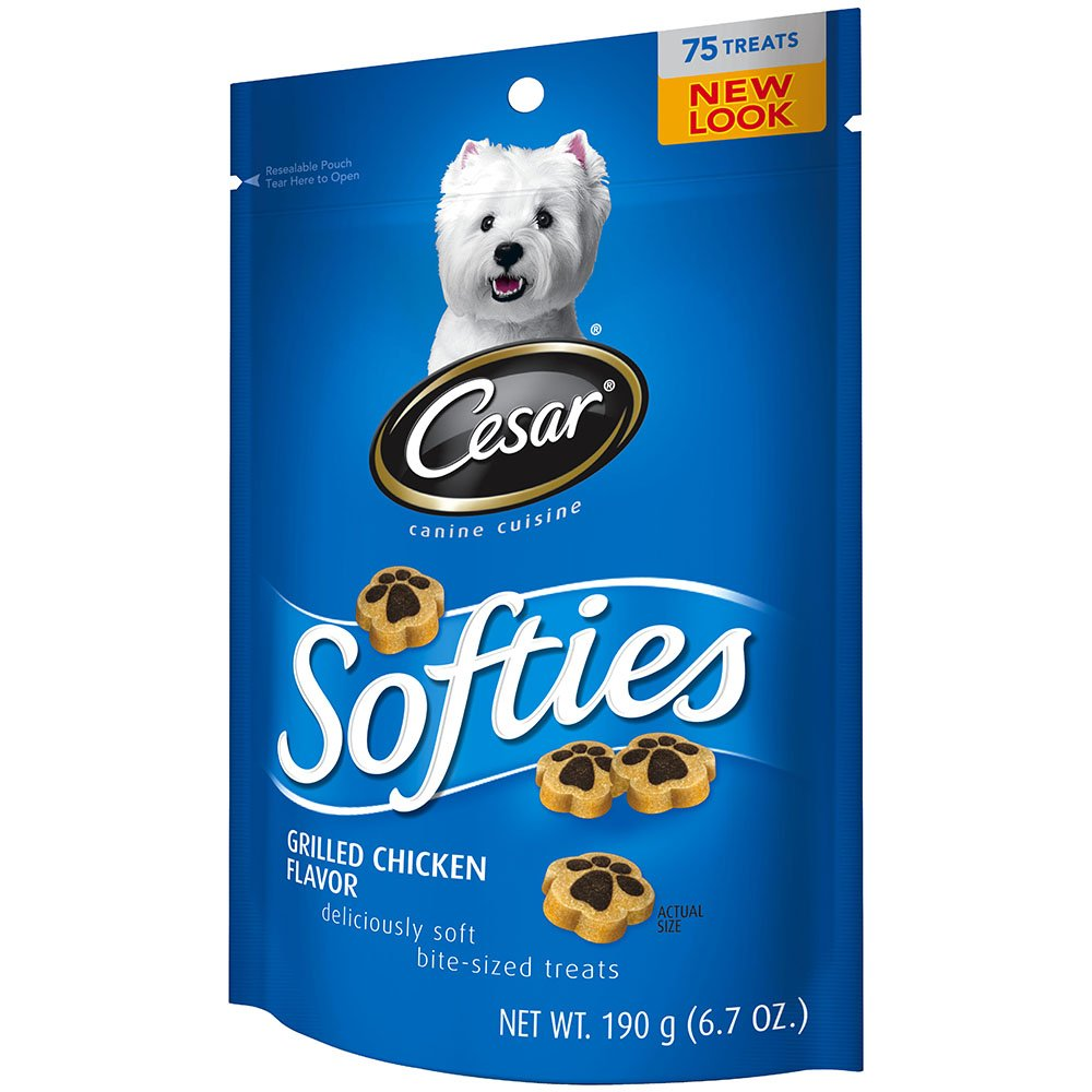 Cesar Softies Grilled Chicken Flavor Dog Treats Pack Of Six 6.7-Ounce Pouches