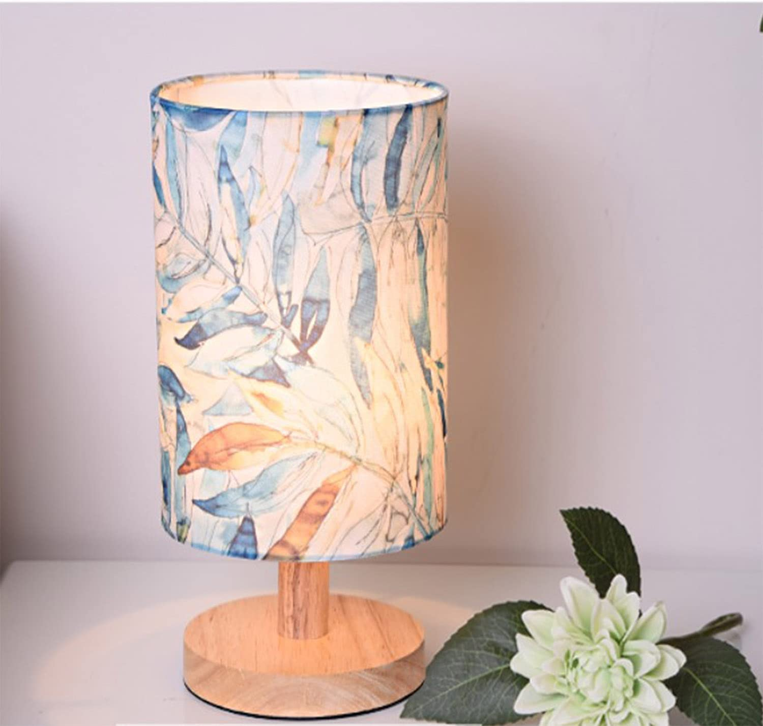 AFORTLO Table Desk Lamp, Small Romantic Decorative Nightstand Night Light Solid Wood Base Lamp for Bedroom,Living Room,End Table or Office with Bulb (Leaves)