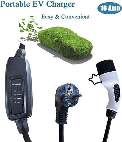 16A Schuko 2 Pin Cargador Coche electrico EVSE 6.5m Euro Plug Morec Portable Tipo 1 EV Cargador de Cable(est/ándar de EE.UU.) Caja de Carga conmutable 10