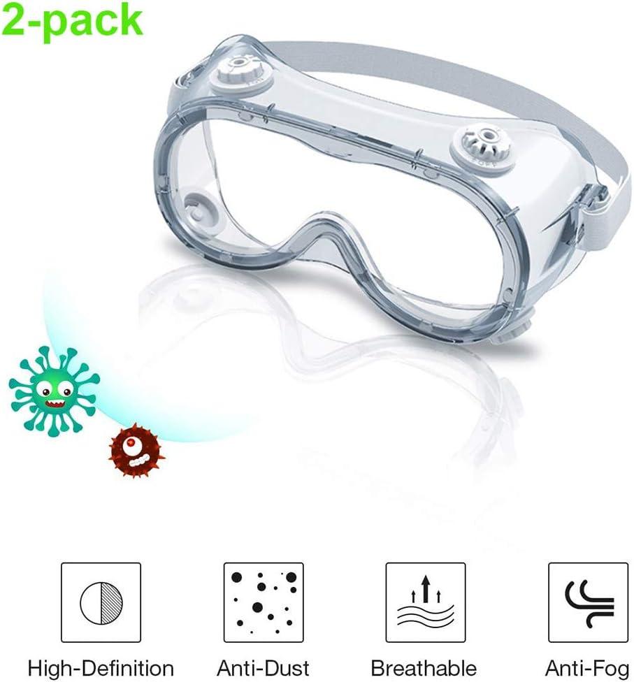 JZH-Light Gafas De Seguridad Antiniebla con Válvula Respiratoria para Protección Ocular para Trabajo, para Construcción, Laboratorio, Química, Uso Personal O Profesional,2 Pcs