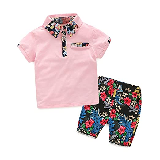 421150ff3 Vibola Summer Children Baby Boys Polo Shirts Tops+Floral Pants Outfits  Clothes (4T,