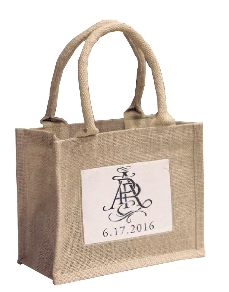 Mini Jute Gift Tote Bags w/ Clear Pocket for Wedding Favors, Crafts, Decorations (12)
