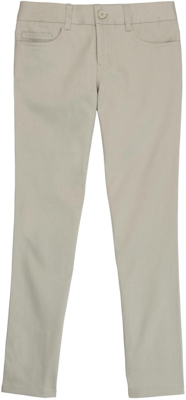 French Toast School Uniform Girls Skinny Fit 5-Pocket Pants, Khaki, 8