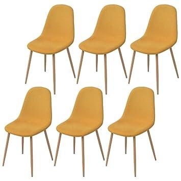 XINGLIEU Esszimmerstühle 6 Stk. Moderne Küchenstühle Stoff Lehnstuhl  Esszimmer Stuhl Gelb 45 X 55 X