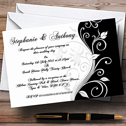 (White Black Scroll Personalized Wedding Invitations)