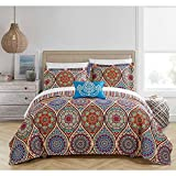 6pc Blue Orange Paisley Twin XL Quilt Set, Purple Yellow Southwest Theme Geometric Medallion Kaleidoscope Pattern Bedding Floral Bohemian Boho Chic, Stripes, Microfiber Polyester