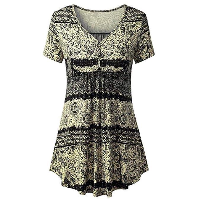 Camisas Henley para Mujer, Estampado Plisado de Manga Larga con Botones Blusas Sueltas Ocasionales Blusa túnica SunGren: Amazon.es: Ropa y accesorios