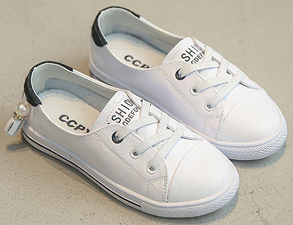 VECJUNIA Girl's Trendy Low Top Round Toe Elastic Casual Flat Shoes Walking (Black, 2.5 M US Little Kid) by VECJUNIA (Image #5)
