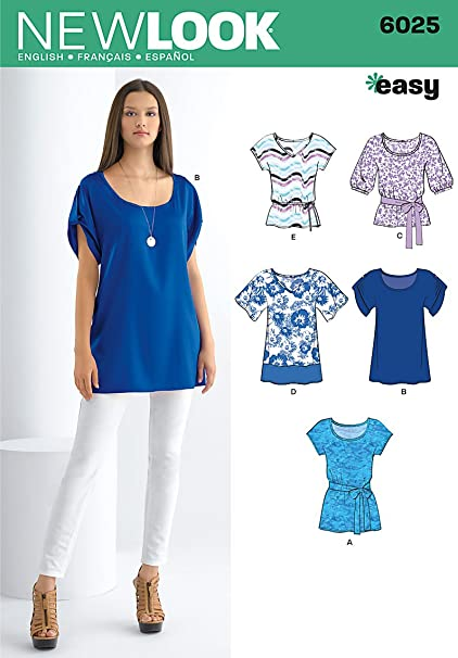 Amazon.com: New Look sewing pattern 6025: Misses\' Tunic or Tops size ...