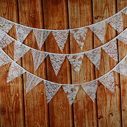 (INFEI 3M/9.8Ft Mixed White Lace Fabric Flags Bunting Banner Garlands for Wedding, Birthday Party, Outdoor & Home Decoration)