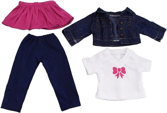 4 Piezas Ropa Camiseta Blanca + Mini Falda + Pantalones Largos + Chaqueta Vaqueros para18 Pulgadas Americana Muchacha Muñeca