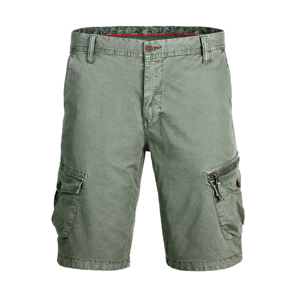 Men's Cotton Casual Cargo Shorts Loose Fit Outdoor Wear Elastic Waist Shorts with Pockets Army Green by Zainafacai_shorts (Image #1)