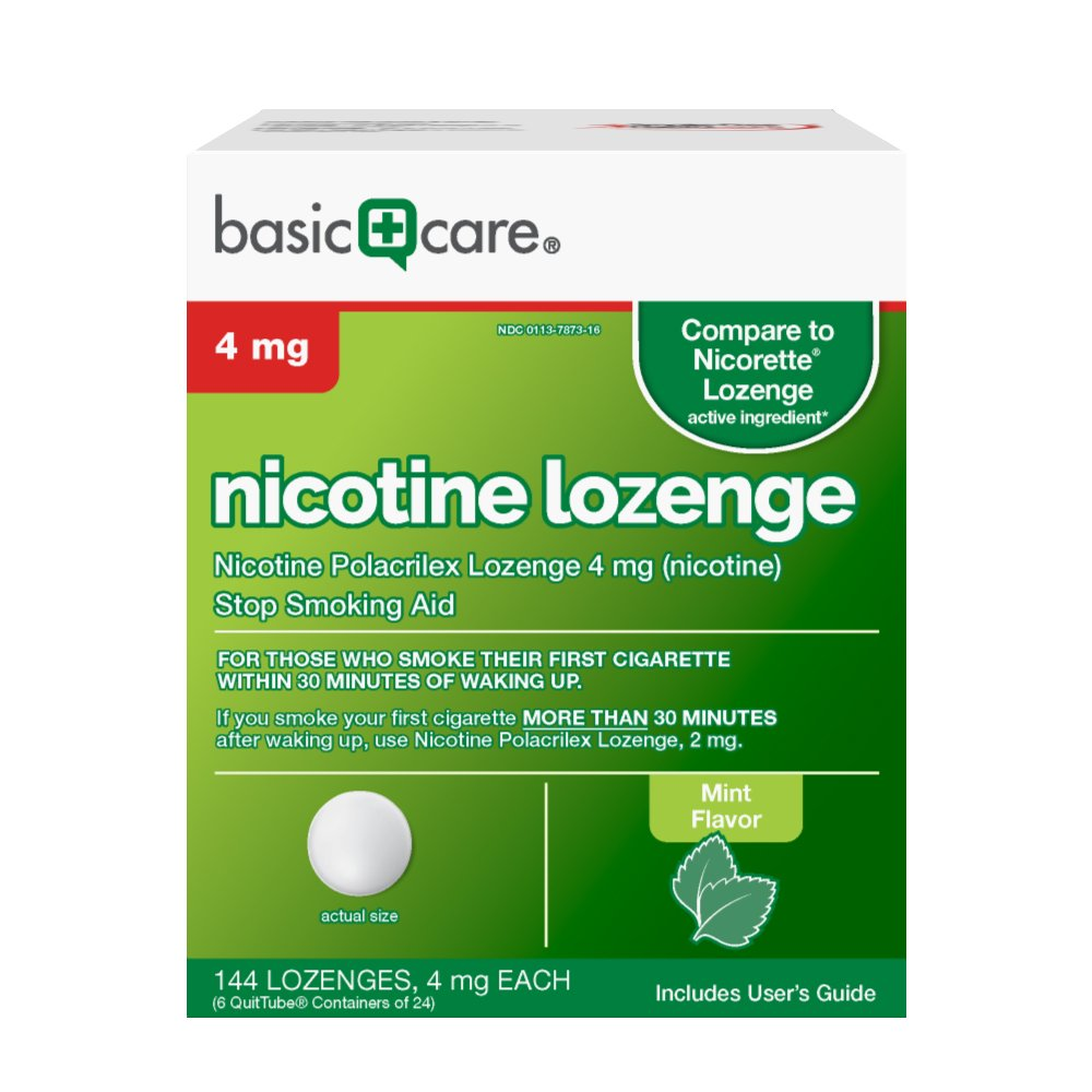 Nicotine Lozenge 4mg, Stop Smoking Aid, Mint, 144 Count