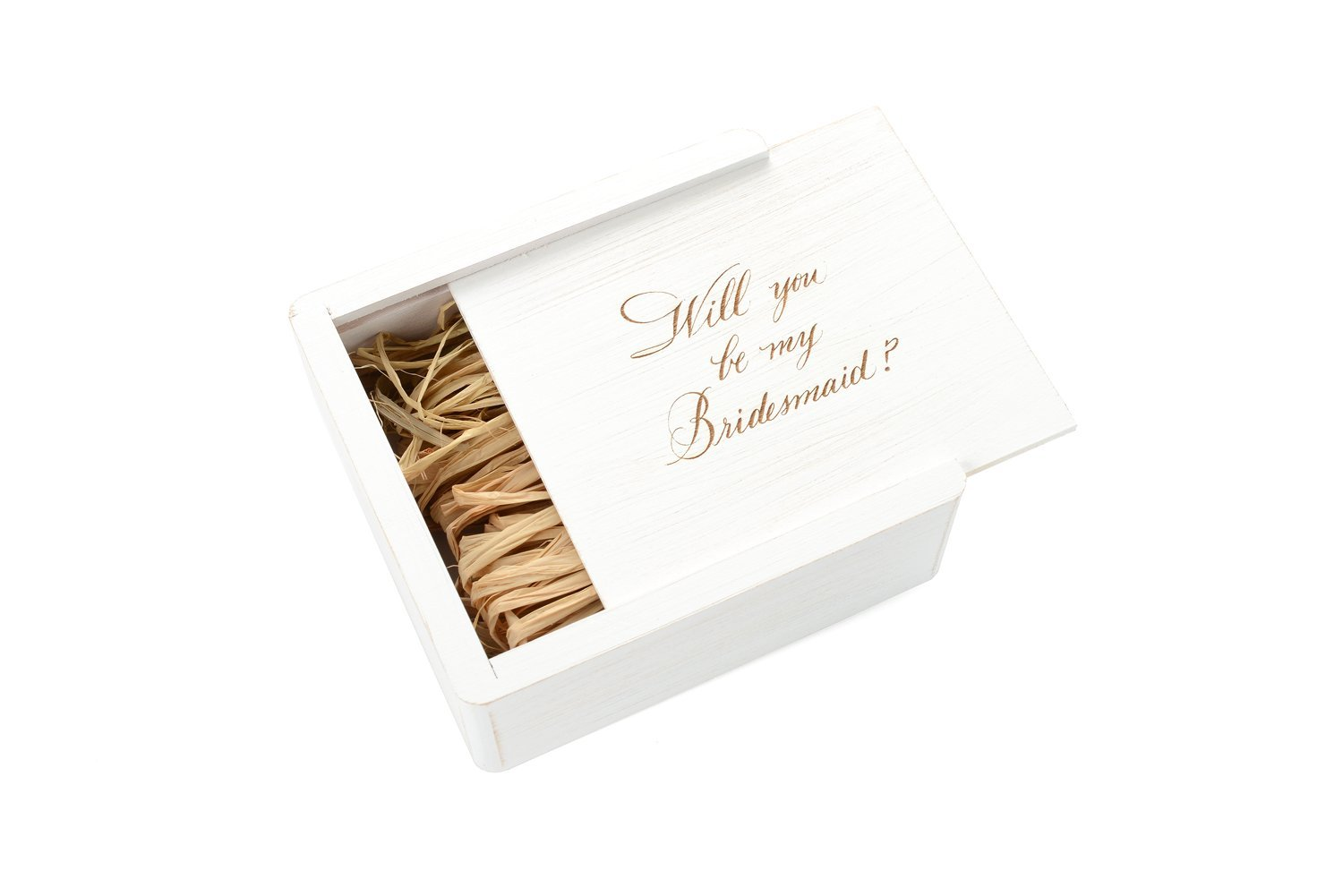 Wedding White Gift Box - Filled with Raffia Grass - Laser Engraved My Bridesmaid by Samedayflash