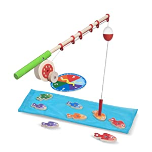 "Melissa & Doug Catch & Count Wooden Fishing Game, Developmental Toy, 2 Magnetic Rods, 7.25"" H x 18"" W x 2.5"" L"
