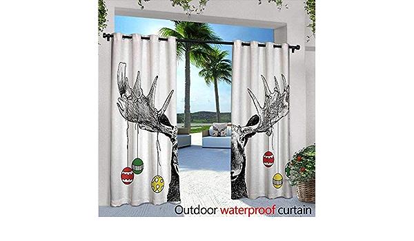 BlountDecor Moose Cortinas de Patio Navidad Moose con Adornos ...