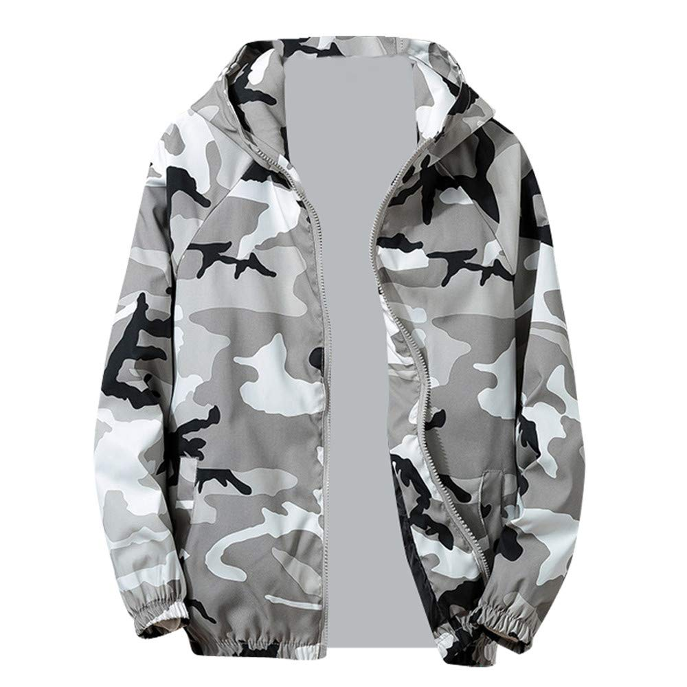 PASATO Clearance Zip Camouflage Long Sleeve Pocket Mens Autumn Winter Sport Hoodies Jacket Coat Outwear Blouse