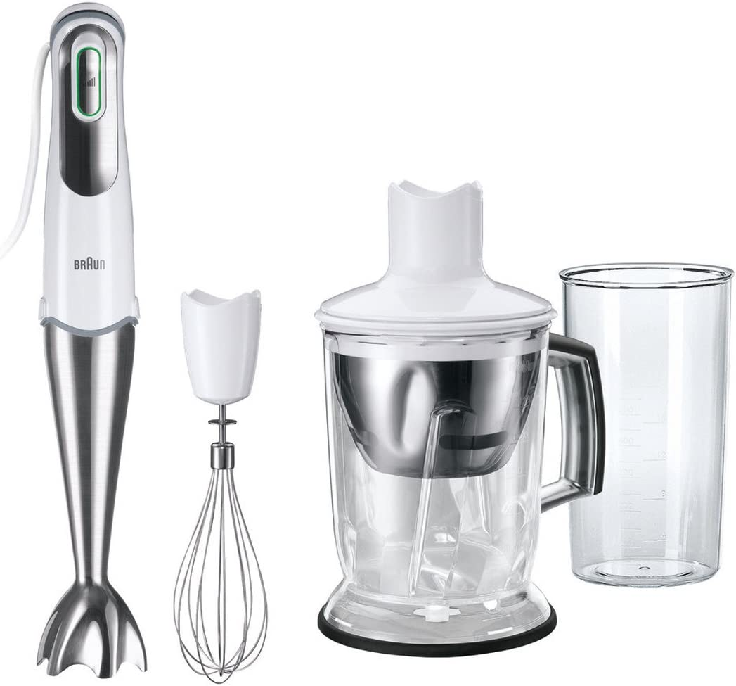 Braun MQ745 MultiQuick 7 Hand Blender w/Ice Crusher & Whisk, 220V (Not for USA - European Cord), White