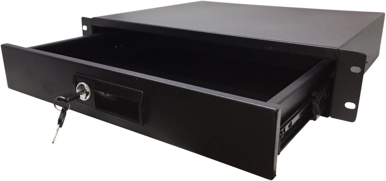 KENUCO 2 Space (2U) Steel Rack Drawer with Slam Latch & Keyed Lock