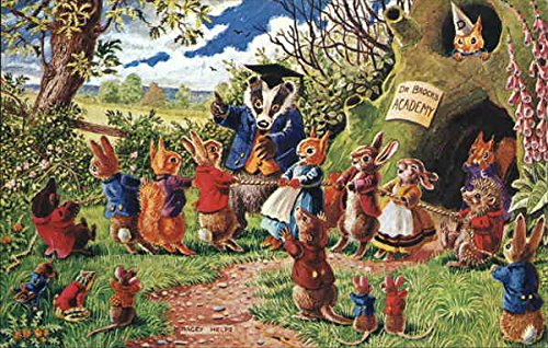 Rabbits Playing Tug O' War Dressed Animals Original Vintage Postcard