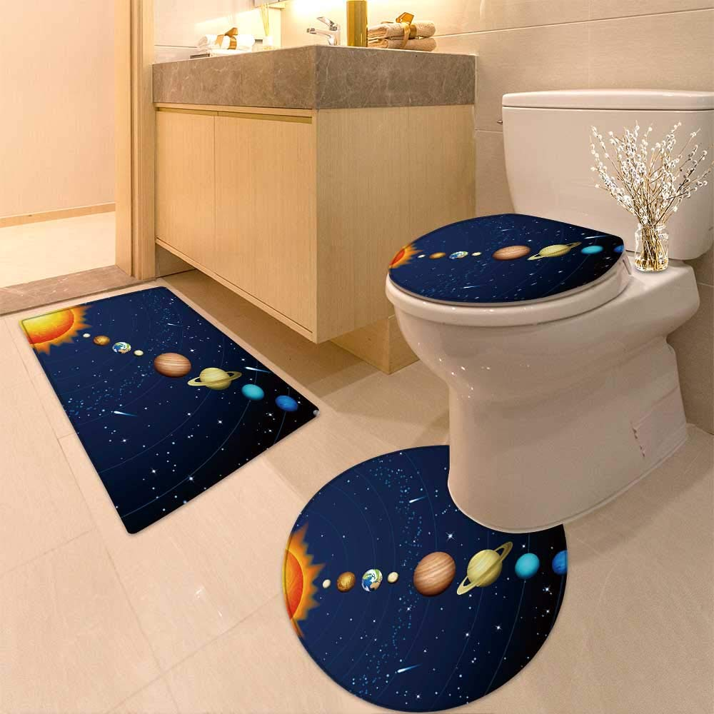 HuaWuhome 3 Piece Toilet lid Cover mat Set Solar System Printed