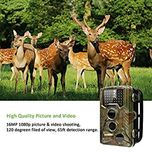 Deer Camera Trail Camera 16MP 1080P HD IR Night Vision Wildlife Motion Activated Camera with IP56 Waterproof 0.2s Trigger Time and 2.4 inch LCD Screen Game Camera