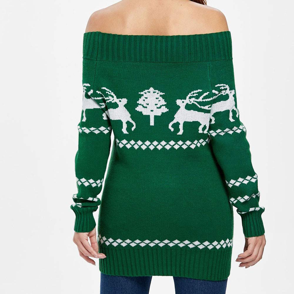 AOJIAN Womens Ugly Christmas Sweater Long Sleeve Hoodie Knitted Off Shoulder Button Tree Reindeer Print Jumper Pullover