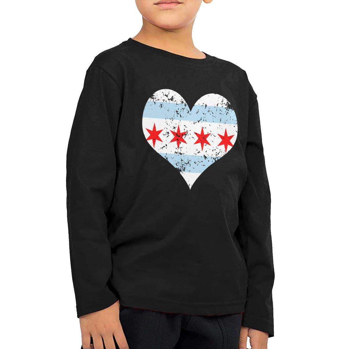 UGFGF-S1 Chicago Heart Flag Fashion Toddler Kid Baby Boys Girls Long Sleeve Tee Clothing