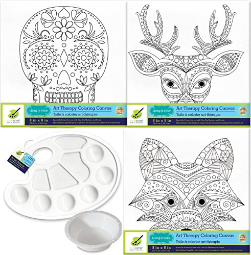 Printed Canvas Painting Series 3 Stretched Designs Sugar Skull/Fox & Deer Head Animal line Art + Plastic Palette & Water Cup Color Your own Picture 8