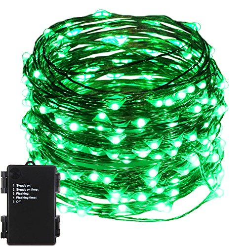 ER CHEN Indoor and Outdoor Waterproof Battery Operated 200 LED String Lights on 66 Ft Long Ultra Thin Copper String Wire with Timer (Green) -
