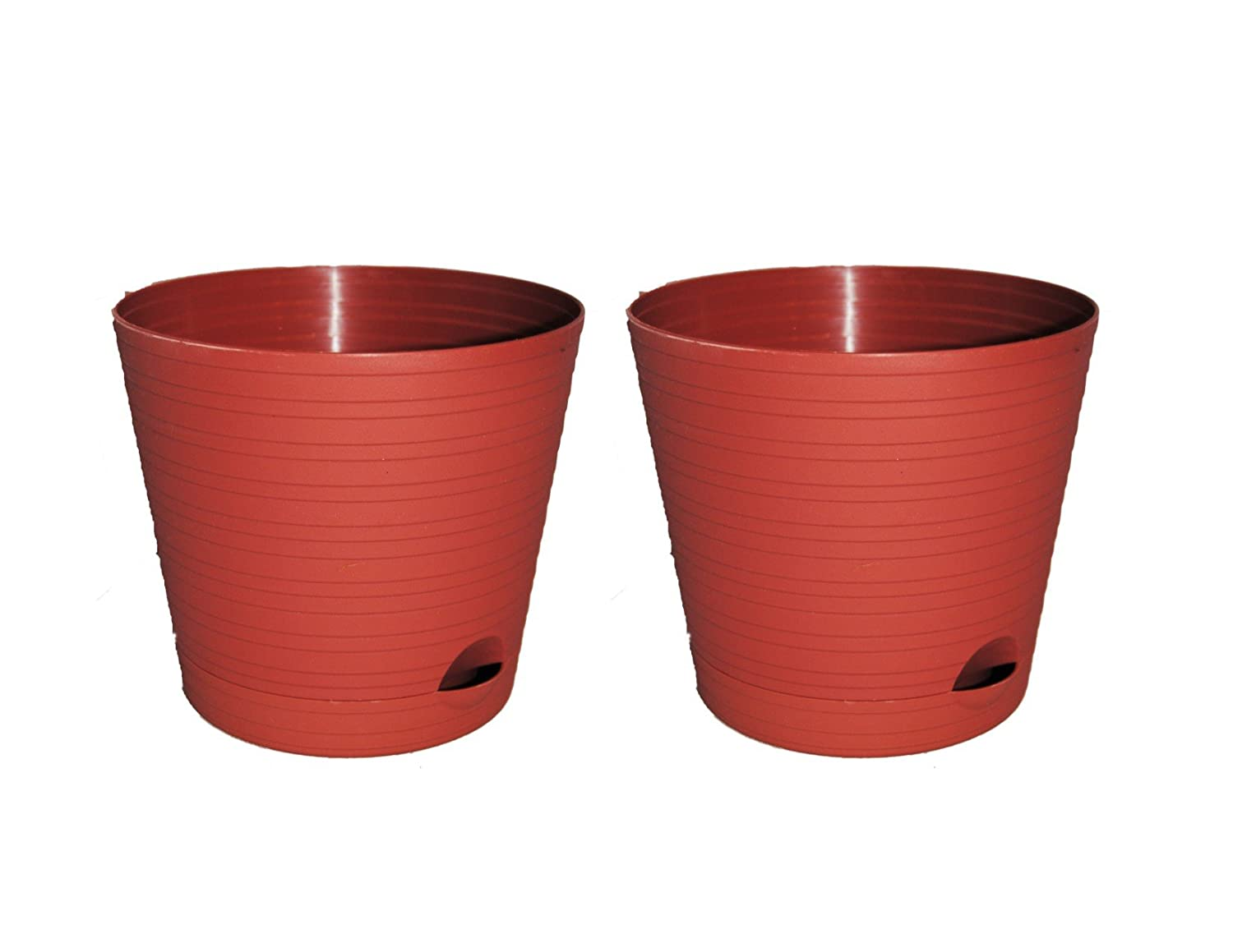 Plastic Terra Cotta Colored 6 Pots 2 pk with Saucers