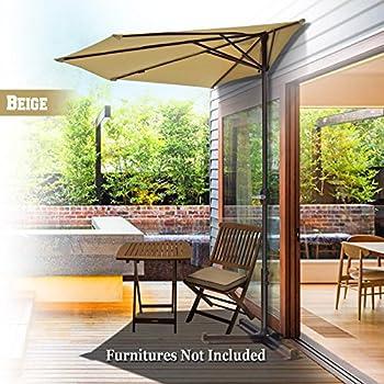 BenefitUSA Half Patio Umbrella Wall Balcony Half Round Sunshade Market Yard  Garden Outdoor Parasol With Stand