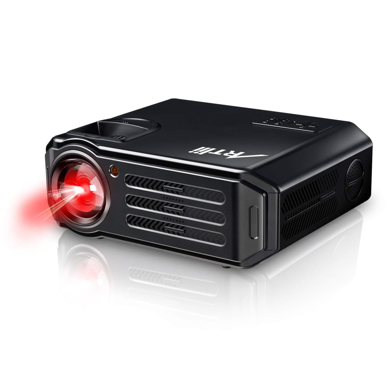 Proiettore HD, Artlii Videoproiettore tv LED 3500 Lumen, Multimedia con AV/VGA/USB/HDMI Supporto TV/ Laptop/ iPad/ Smartphone RD817-Euro-Black