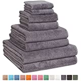 Fast Drying Extra Large Bath Towel Set, Decorative & Luxury Premium Turkish Cotton Towels for Clearance - Spa & Hotel Quality - Pack of 8 including 2 Oversized Bath Sheets (30x60) - Grey