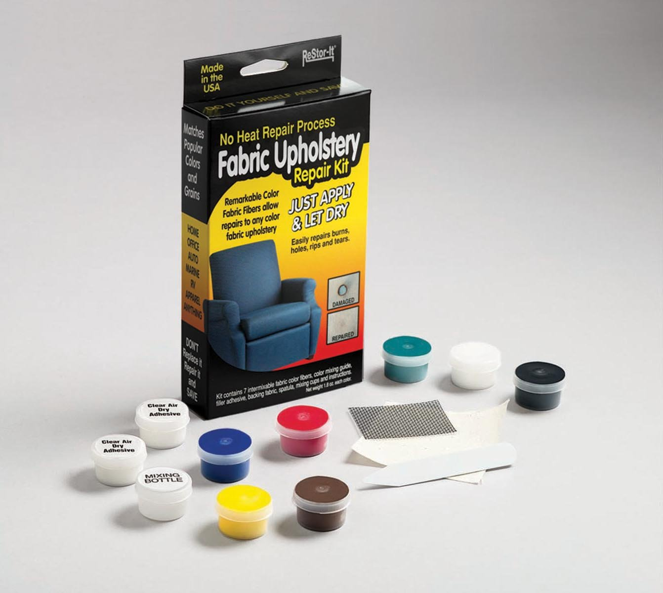 ReStor-it Fabric Upholstery Repair Kit, 7 Intermixable Colors, Mixing Cup, Applicator, Color Mixing Guide (18075) Master Manufacturing