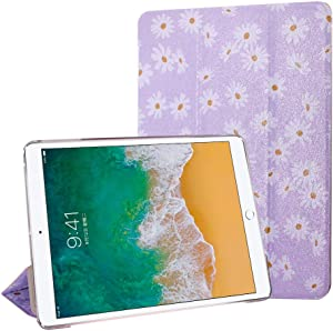 iPad Air 2 Case, FANSONG iPad 9.7 6th 2018 / 5th Gen 2017 Case, Bling Glitter Leather Magnetic Flip Trifold Stand Cover Sparkle Auto Sleep/Wake Lightweight Ultra Thin Case for iPad Air 2 (Flower)
