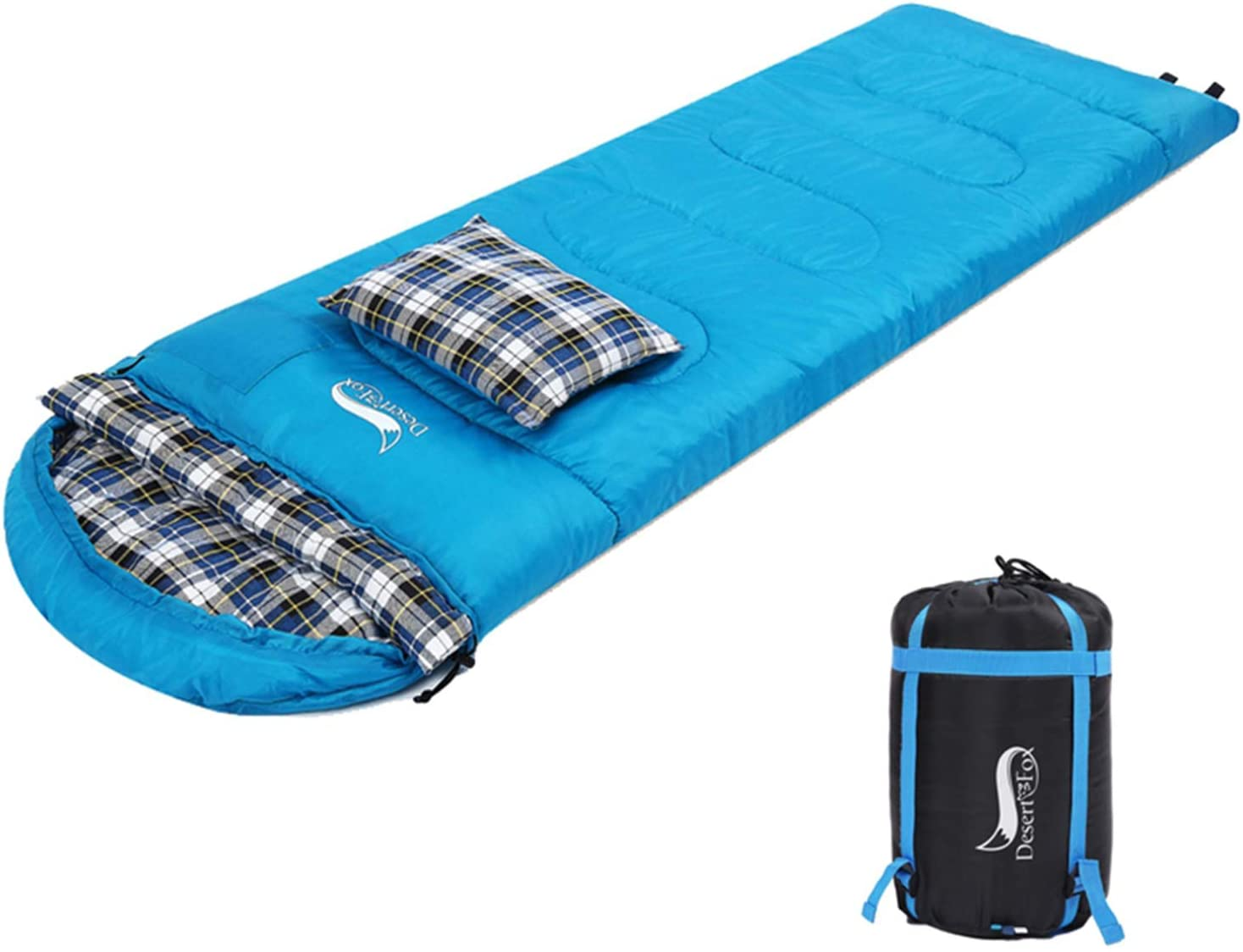 DESERT & FOX Cotton Flannel Sleeping Bags with Pillow, 4 Season Warm & Cold Weather Envelope Compression Sack, Lightweight & Portable Backpacking ...