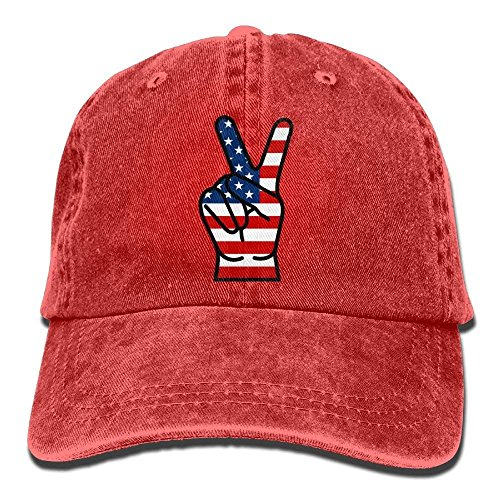 hanbaozhou Gorras béisbol USA Peace Fingers Denim Hat Adjustable Male Fitted Baseball Hats