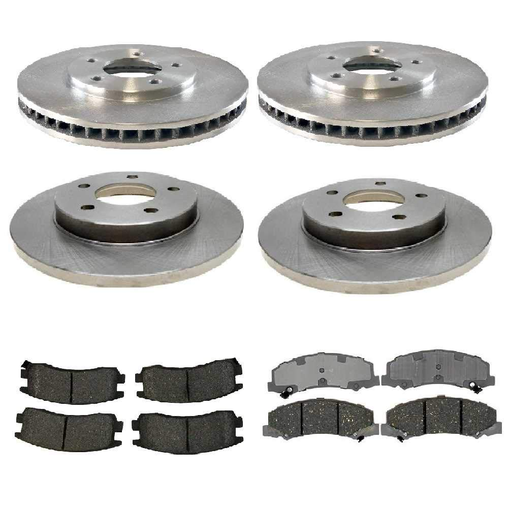 Prime Choice Auto Parts SCD11594516 4 Front and Rear Disc Brake Rotors and 8 Ceramic Brake Pads