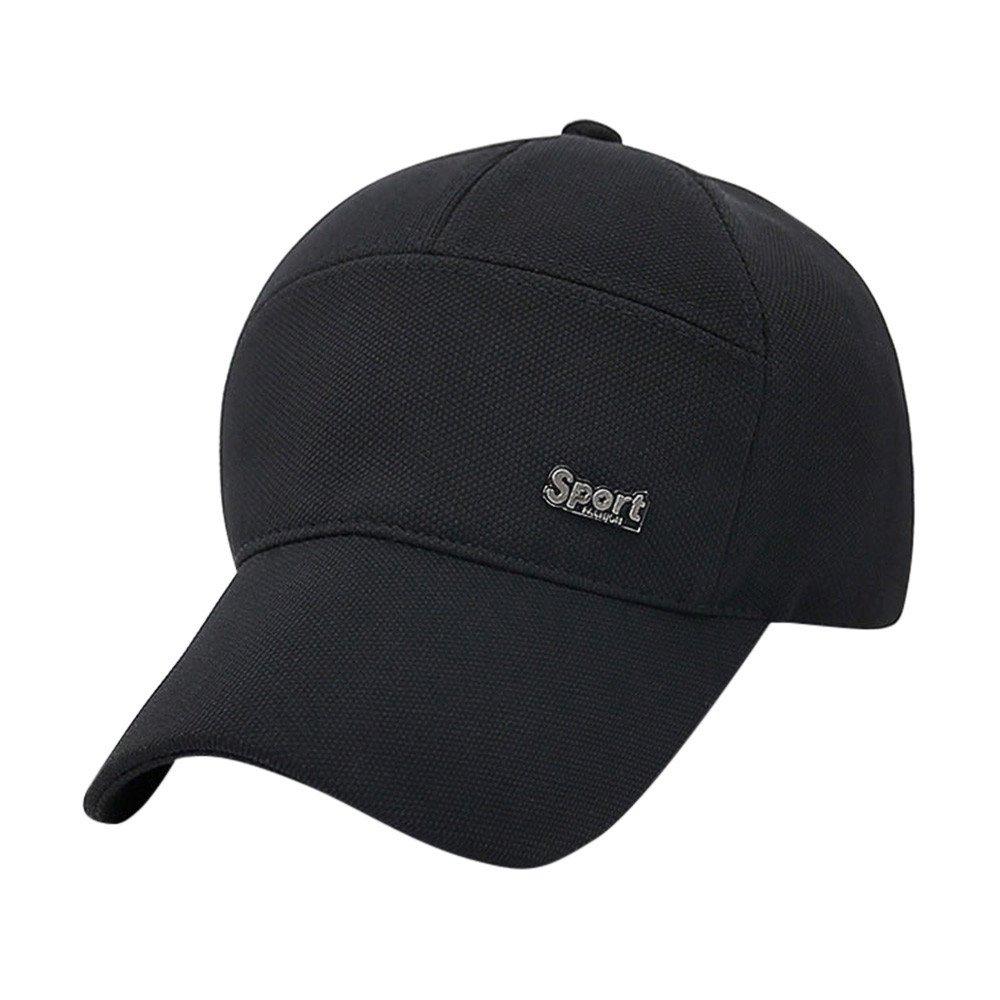 Unisex Womens Mens Solid Baseball Caps Printed Cool Hip-Hop Snapback Visor Sports Adjustable Cotton Washed Hat Hot! (Black)