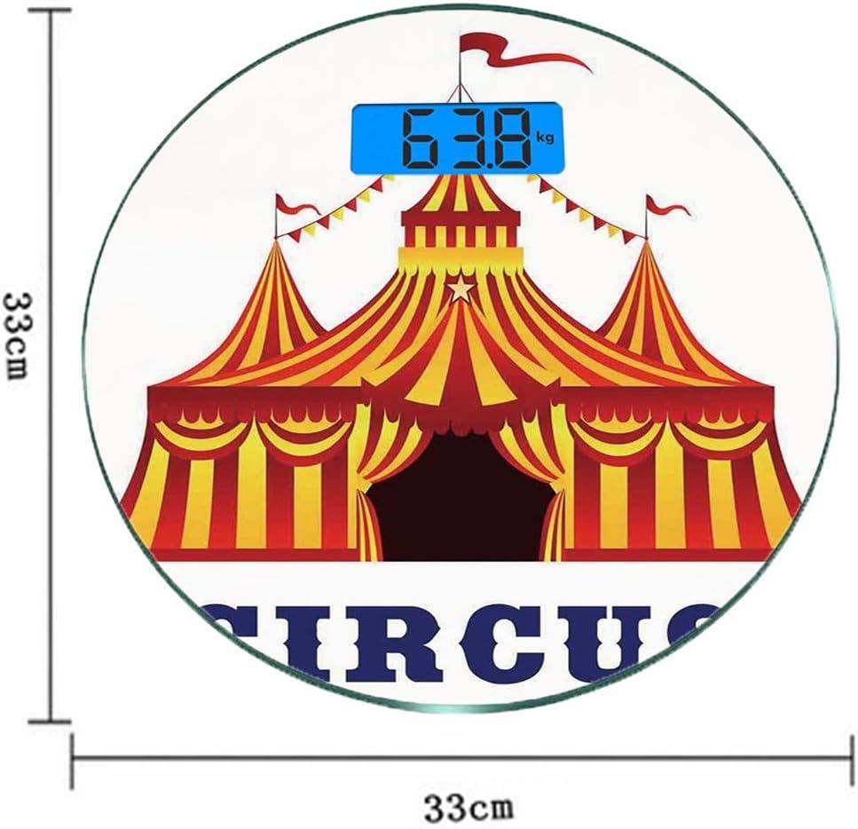 Redondo Básculas digitales de peso corporal ultradelgadas de vidrio templado Decoración de circo Sensores de precisión Báscula de baño Mediciones de peso Ilustración de la antigua tienda de rayas en e: Amazon.es: