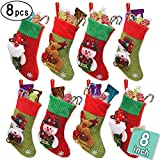 "LimBridge 8 Pack 8"" Small 3D Kids Glitter Christmas Stockings Set, Felt Xmas Tree Santa Claus/Snowman/Reindeer Gift Card Silverware Holders, Mini Personalized Holiday Treat Bags"
