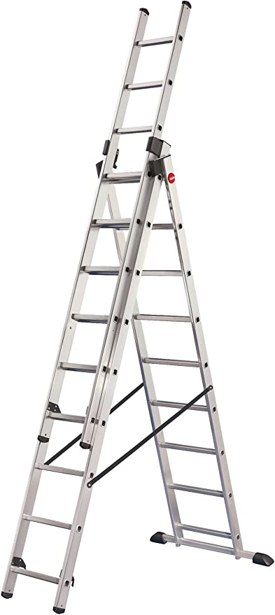 Hailo ProfiStep-Combi - Escalera industrial 3 tramos de aluminio con estabilizador recto (3 x 9 peldaños): Amazon.es: Bricolaje y herramientas