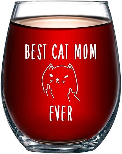 Amazon.com: Best Cat Mom Ever Funny 15oz Vidrio de vino ...