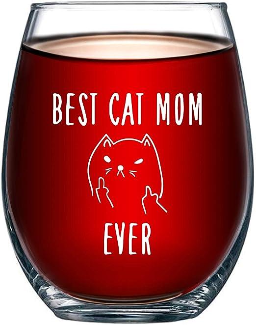 Mejor gato mamá nunca Funny 15oz Vidrio de vino – regalo Ideal para los amantes del gato –