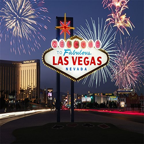 AOFOTO 6x6ft Las Vegas Backdrops Travel Signpost Photography Studio Props Outdoor Firework Background City Nightscape Photo Shoot Video Drop Adult Lover Boy Girl Artistic Portrait Urban Building - At Tower Place Stores Water