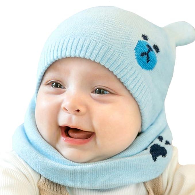 dbdf730498e ZEHAT New Bear Baby Cap Cute Winter Girls Boys Woolen Beanie Hats and Scarf  Set Circle