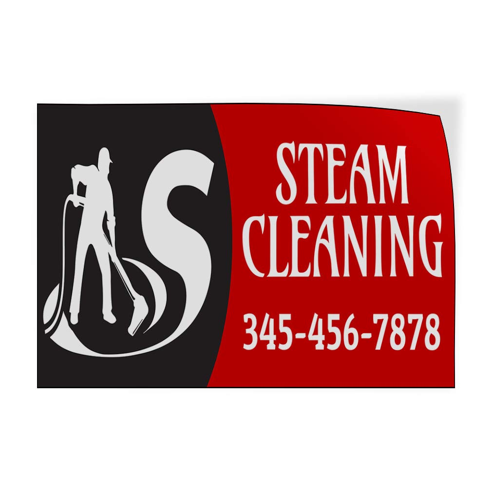 Custom Door Decals Vinyl Stickers Multiple Sizes Steam Cleaning Phone Number Black Red Business Steam Cleaning Outdoor Luggage /& Bumper Stickers for Cars Red 69X46Inches Set of 2