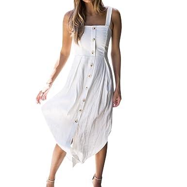 dea672483cc ❤️LILICAT Womens Holiday irrégulière robe dames été plage boutons robe de  soirée Fashion Cocktail Vintage