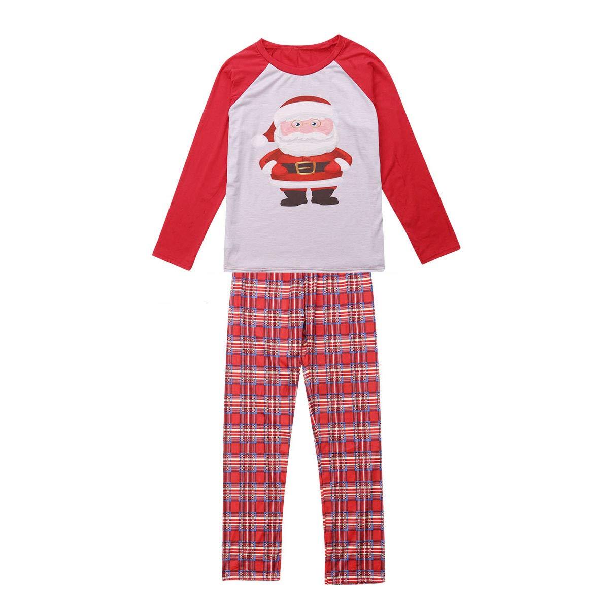 Christmas Matching Family Pajamas Set Xmas Sleepwear Parent-Child Nightwear Santa  Claus Print Tops + Plaids Pants 1779f7d4f